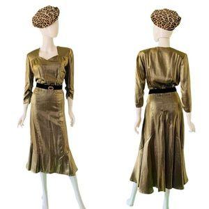 SOLD💰 VTG 70's-80's Gold Lamé Fishtail Dress